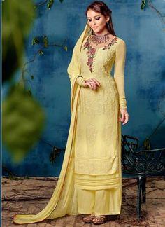 Latest Yellow Resham Work Georgette Designer Palazzo  Suit http://www.angelnx.com/Salwar-Kameez/Pakistani-Suits