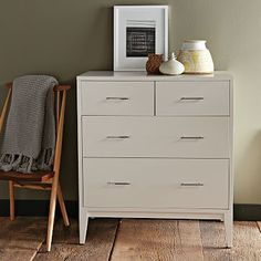 """Narrow-Leg 4-Drawer Dresser - White #westelm. $599, $135 shipping. engineered frame and body, solid wood legs. 36""""w x 20""""d x 40""""h."""