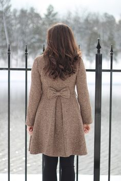 tweed winter coat with bow from leslyn's lovely life
