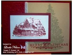 Snowy Lodge with Christmas Tree Card