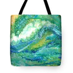 Dolphin Waves 2 Tote Bag by Carol Cavalaris