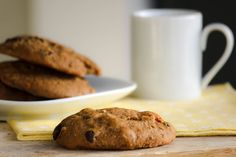 Clean Cuisine Breakfast Cookies. Ingredients: garbanzo beans, applesauce, milk, vanilla, egg, coconut oil, flour, baking soda, sea salt, sugar, raisins, walnuts