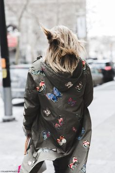 Windblown hair. | New York Fashion Week Fall Winter 2015 | Street Style | Helena Bordon-Parka Butterfly