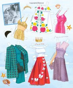 Esther Williams Paper Dolls: Movie Clothes and Swimwear: Paper Dolls, - love the purple dress