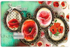 Cabochon oval images Digital Printable images - Poppy 30x40 mm 30x22 mm 25x18 mm 18x13 mm for pendants bezel cab magnets scrapbooking c173 - pinned by pin4etsy.com