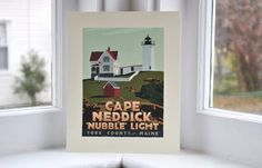 """Cape Neddick 'Nubble' Light, Maine Print (8x10 Lighthouse Travel Poster, Wall Decor Art). Cape Neddick 'Nubble' Light by Graphic Artist Alan Claude. Beautiful Cape Neddick """"Nubble"""" Light is planted on a small rocky island that is 'so close yet so far' from the shore divided by a 100 foot channel. The vivid contrasting autumn light and shadows delivered the depth and dimension for the rock foundation I was seeking, but I added a soft delicate blueish shadow on the tower and the keeper's..."""