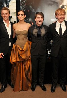 Tom Felton, Emma Watson, Daniel Radcliffe and Rupert Grint at Harry Potter and the Deathly Hallows - Part 2: NY Premiere #harrypotter