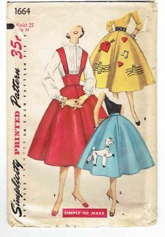 Items similar to Vintage Poodle Skirt Simplicity 1664 Junior Full Skirt Shoulder Straps, Applications, Sewing Pattern Waist Size 25 Hip 34 Cut & Complete on Etsy Vintage Dress Patterns, Vintage Skirt, Vintage Dresses, Vintage Outfits, Vintage Jumper, 1950s Dresses, Vintage Clothing, Vintage Girls, 50s Vintage