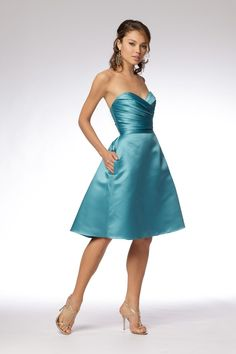 Strapless A-line Skirt Bridesmaid Dress with Pleated Sweetheart ...
