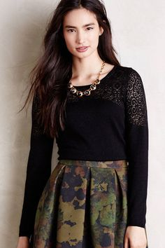 Nettie Pullover Black Lace Sweater Top Knitted & Knotted Anthropologie, S Petite #Anthropologie #ScoopNeck #WorkCasual