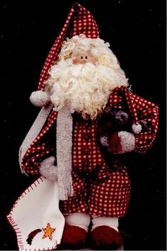 *SANTA ~ Primitive fabric and wood bedtime santa doll craft pattern Christmas Ornaments To Make, Santa Ornaments, Christmas Sewing, Primitive Christmas, Christmas Love, Christmas Deco, Christmas Holidays, Christmas Crafts, All Things Christmas