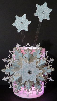 Embellished Color-Changing LED Candle Light created by Lynn Gauthier using Stampin' Up Flurry of Wishes, SU Retired Snowflake kit, SU Black Spider Web Doily and Basic Jewel Rhinestones. Go to http://lynnslocker.blogspot.com/2015/10/embellished-color-changing-led-candle.html for details on this project.