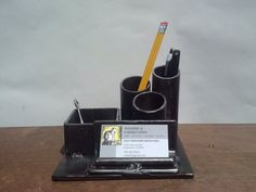 desk organizer. pencil holder. business card holder.  welded recycled steel with bronze patina finish