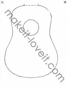 One for Cardboard Guitar Guitar Patterns, Purse Patterns, Quilt Patterns Free, Free Pattern, Sewing Patterns, Fabric Doll Pattern, Fabric Dolls, Cardboard Guitar, Acoustic Guitar Cake