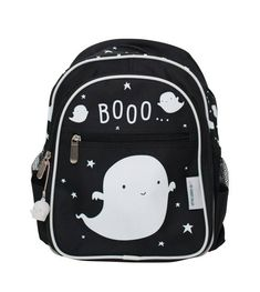 Very cool black backpack with ghost design for the very cool boy. The backpack has many pockets for storage, including two side pockets, making it ideal for any kids daily needs.