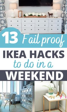 13 Beautiful DIY IKEA hacks that you have to try. WOW, these hacks are GENIUS. I wish I found them earlier. I have now transformed my master bedroom with Ikea bedroom hacks on a very small budget! I have even used these hacks to transform my Ikea dresser and am starting on my living room! I will definitely save this for later so I can refer back to it! Number 4 was my FAVORITE Ikea hack!!