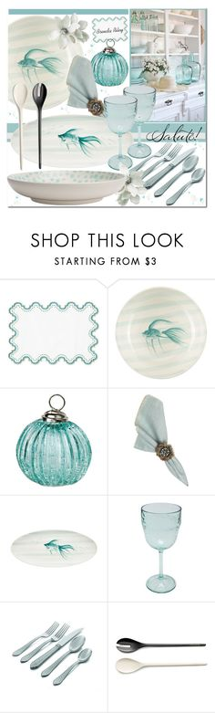 """""""Seaside Dinner Party"""" by brendariley-1 ❤ liked on Polyvore featuring interior, interiors, interior design, home, home decor, interior decorating, Frontgate, Cultural Intrigue, Juliska and M&Co"""