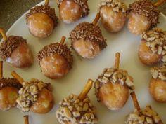Autumn themed baby shower ideas, including Acorn Donut Hole Treats.Yummy!