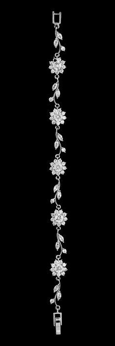Floral Vine CZ Crystal Wedding and Formal Bracelet - Affordable Elegance Bridal -