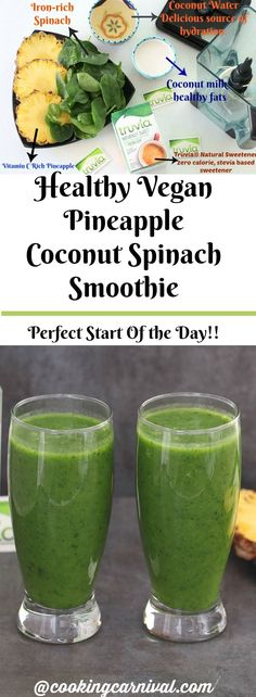 I am a huge fan of smoothies that are full of nutrients and healthy fats. This Pineapple Coconut Spinach Smoothie is loaded with good things like coconut water, coconut milk, pineapple, spinach and Natural Sweetener- all great things that add c Coconut Smoothie, Pear Smoothie, Fruit Smoothies, Smoothie Recipes, Pineapple Smoothies, Vegan Smoothies, Smoothie Drinks, Breakfast Smoothies, Eat Breakfast