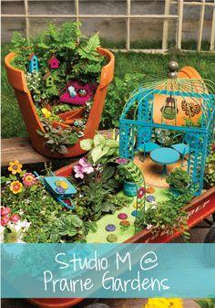 Studio M Fairy Garden Collection at Prairie Gardens-Fairy Garden in a wagon