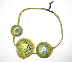 Lime green handmade necklace  fabric flowers by ceciliaelfving, $18.00