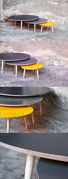 Table basse ronde gigognes, sur-mesure, esprit vintage