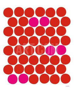 Red Pink Dots Art Print by Avalisa at Art.com