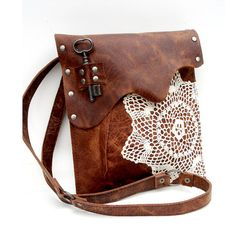 Leather Boho Messenger Bag with Crochet Doily and Antique Key - Medium One Of A Kind - Antique Whiskey w/ Antique Silver Hardware