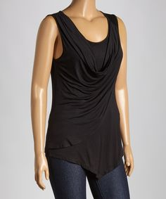 Another great find on #zulily! Black Drape Sleeveless Top - Plus by Celeste #zulilyfinds