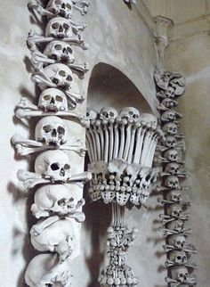 A church of bones , decorated with 40.000 human bones