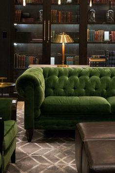 Higgins Chesterfield sofa in Lafayette Green Grass stain-proof velvet   ROGER + CHRIS