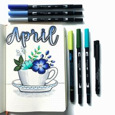 Bullet journal monthly cover page, April cover page, flowers in teacup drawing, hand lettering. | @skulleyart