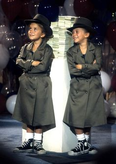 The Adventures of Mary-Kate and Ashley Trenchcoat Twins Photoshoot. Ashley[left] and M-K[right] 1993?