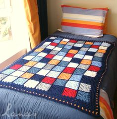 Lanas de Ana: Blanket: Nautical Squares