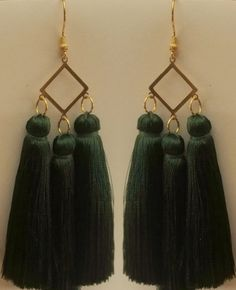 #orientaljewellery #orientalearrings #gold #with #three #green #tassels #silverjewellery