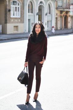 Blogger Inspiration: How to do head to toe burgundy (via 9 to 5 Chic)