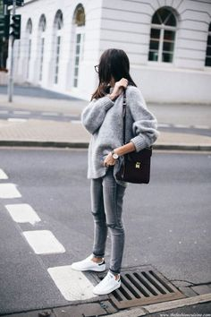 Sweater: grey white sneakers black bag street style outfit look all grey everything