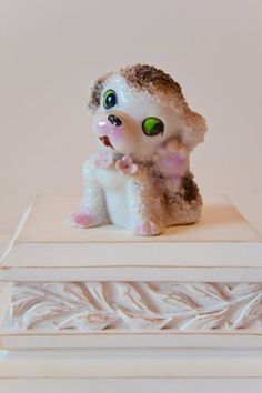 Vintage Ceramic Puppy Dog Figurine with by HappyGoJunkyBoutique