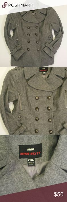 """Miss Sixty Peacoat Miss Sixty Peacoat in a neutral gray color. Super classy double breasted coat secured with large buttons engraved with anchor designs. Fully satin lined. Very flattering fit and a true XL. Tagged a PXL but I'm not petite and it's a great fit. Wool blend consisting of 60% wool, 30% polyester and 10% rayon. 2 pockets in the front, 2 zip pockets at the bust. Pleated back coattails. Extra button included. No rips, holes or stains.   Pit to Pit 23"""" Top of sleeve to bottom hem…"""
