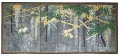 SIX-FOLD 'WISTERIA' SCREEN, JAPAN, EDO PERIOD, 18TH CENTURY