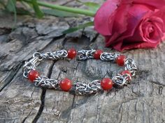 Kings chain bracelet with red Agate, stainless steel jewelry, Viking bracelet by LisMGallery on Etsy Viking Bracelet, Red Agate, Stainless Steel Jewelry, Chain, Trending Outfits, Unique Jewelry, Bracelets, Handmade Gifts, Etsy