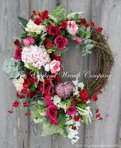 Valentine Wreath, Heart Wreath, Victorian Wreath, Spring Floral, Elegant Designer Wreath, Country French, Romantic Wedding Decor  Romantic