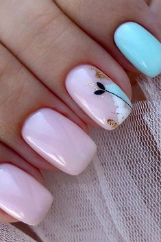 The Best Wedding Nails 2019 Trends ❤ wedding nails 2019 light pink blue design with flower flower_nails 2020 trends Simple Wedding Nails, Wedding Nails Design, Simple Nails, Blue Wedding Nails, Cute Nails, Pretty Nails, Hair And Nails, My Nails, Oval Nails