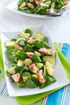 Honey-mustard salmon on avocado-potato-field salad