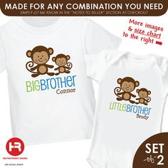 Monkey Big Brother Shirt & Monkey Little by HeatherRogersDesigns