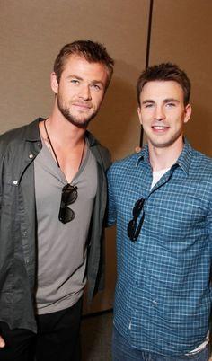 Chris Evans Chris Hemsworth C-squared lol Like, Comment, Repin !!