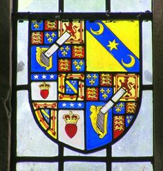 Stained glass window with arms of the 4th Duke of Buccleuch.