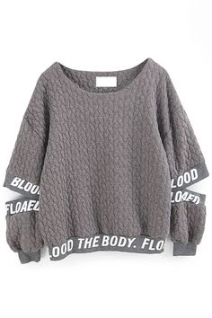 Letter Print Cut-Out Sleeves Sweatshirt