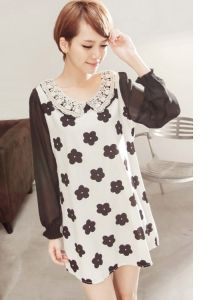 J73264 Lace Lapel plum blossom Pattern Chiffon Dress